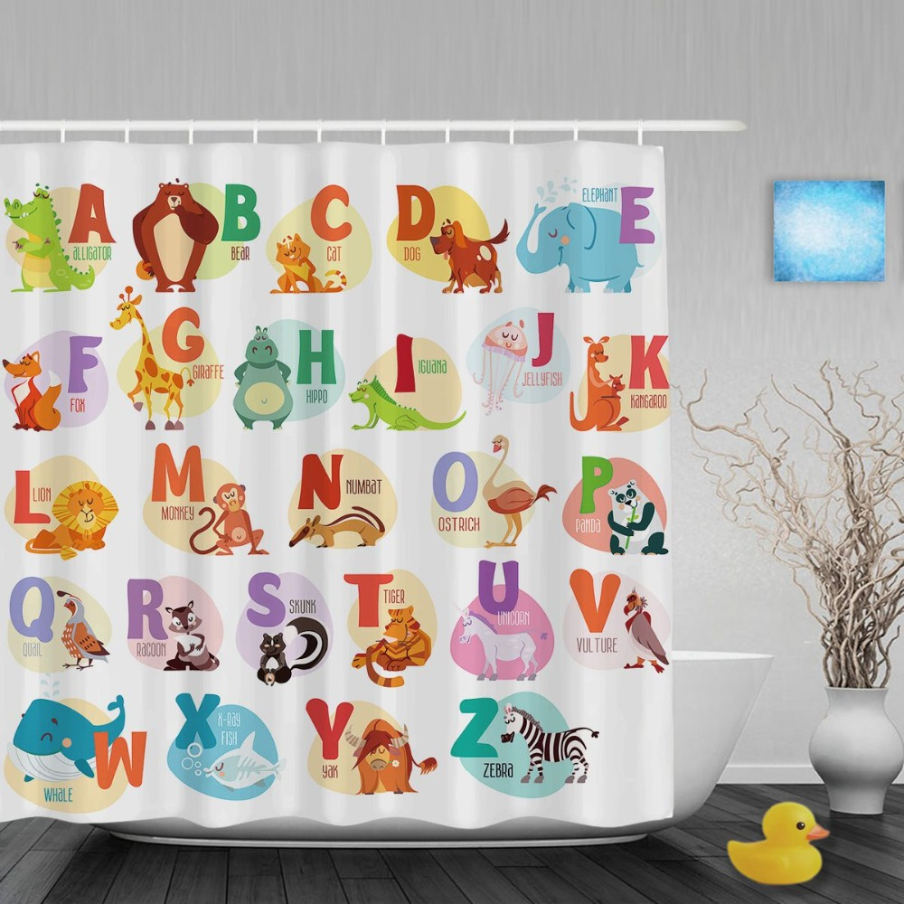 Educational Alphabet Letters Kids Shower Cutains Cute Animals Decor Baby Bathroom  Curtains Polyester Waterproof Fabric With Hook In Shower Curtains From ...