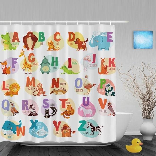 Educational Alphabet Letters Kids Shower Cutains Cute Animals Decor ...