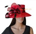 Красный черный горошек печати Церковь Hat sinamay hat.