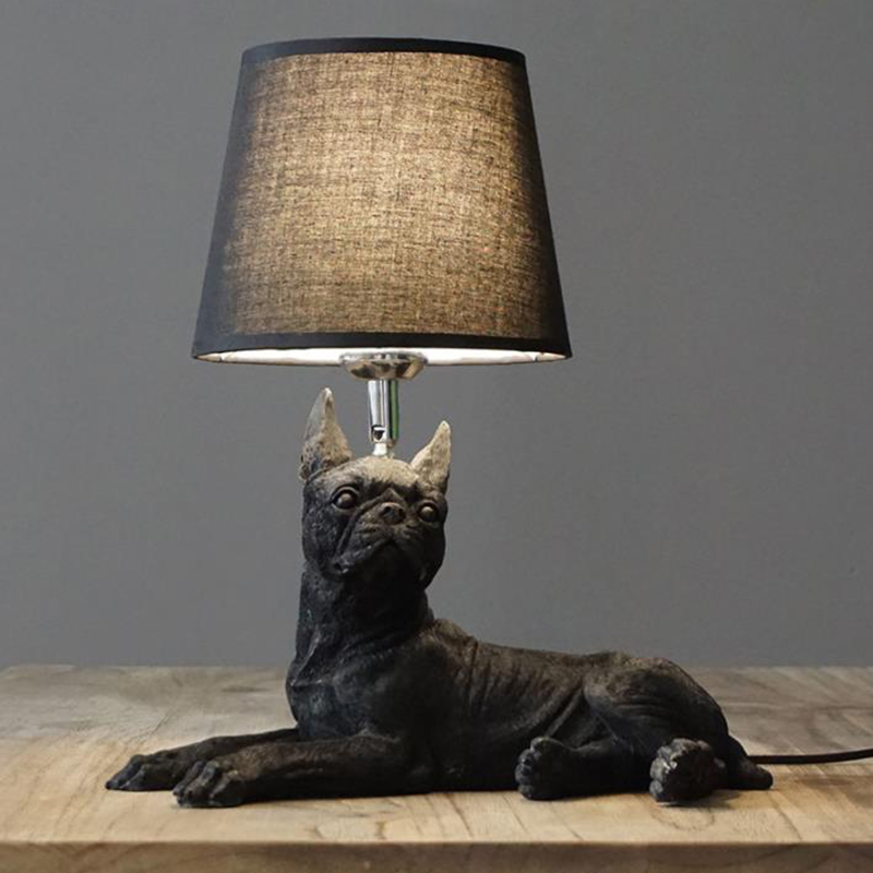Nordic Novelty resin <font><b>dog</b></font> shape LED <font><b>Table</b></font> <font><b>Lamps</b></font> Danmark style puppy lights bedroom study LED <font><b>table</b></font> lights with fabric lampshade image