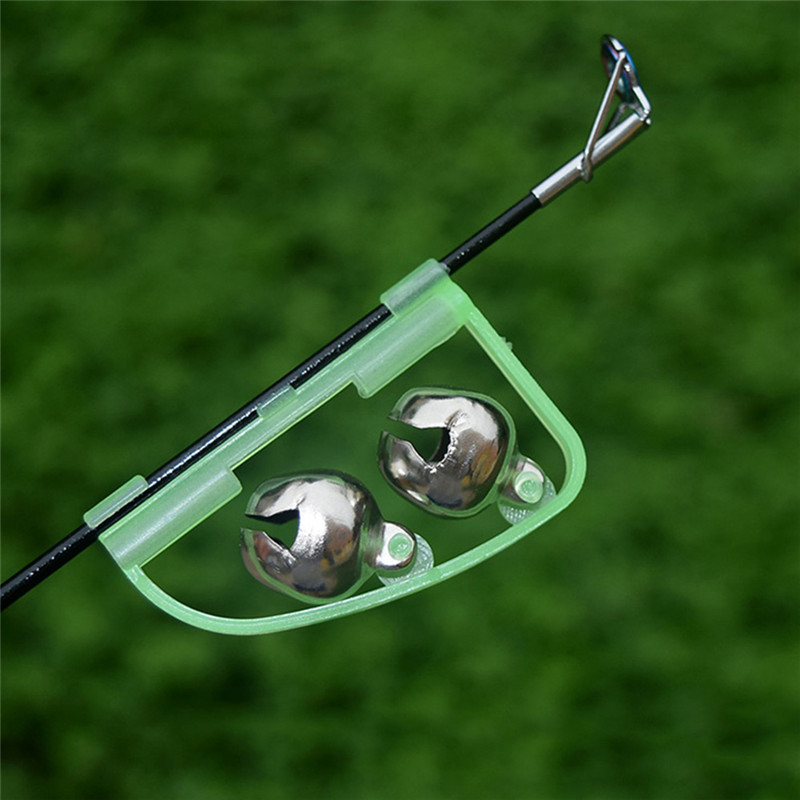 1pcs Fluorescent Fishing Rod Pole Tip Clip Twin Bell Alarm Alert Ring Glow In The Dark Fishing Tackle Box Accessory tool 10pcs fishing rod tip twin bells ring fish bait alarm green silver