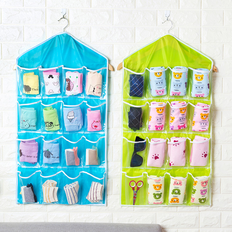Creative Wall Wardrobe Hanging Storage Bag Bedroom With Hanger Heat-resistant Underwear Simple Transparent Pocket Organizer Sack