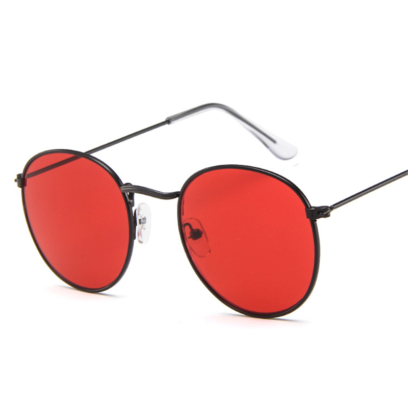 Oulylan Women Men Retro Round Sunglasses Brand Designer Red