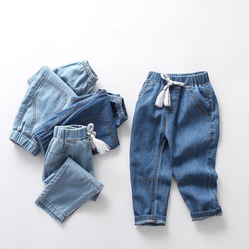 Джинсы шаровары для мальчиков и девочек тонкие дышащие удобные брюки из денима