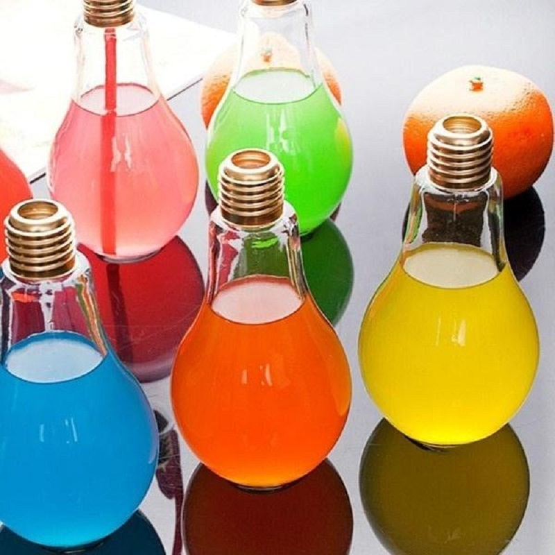 Bottle Lamp Glass Cup Creative Light Bulb Water Drinkware Free Drink Containers Bulb