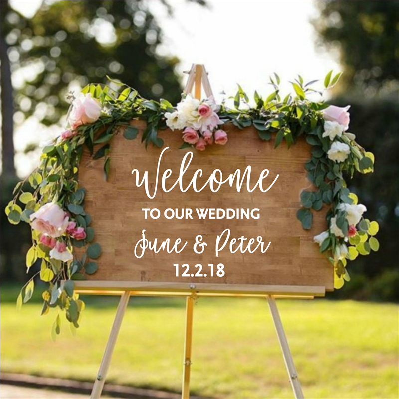 Personalised Wedding Welcome Sticker Sign Bride and Groom Names Wedding Date Customized Vinyl Decal Sticker image