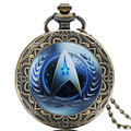 Vintage Pocket Watch Quartz Blue Star Trek Deisgner Galss Dome Fob Watches 2016 Online Sale Men Women Steampunk Pendant