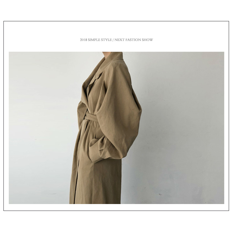 Autumn 19 Woman khaki Long Trench Coat British Style Vintage Puff Sleeve Long Dust Coat Elegant Waist Bandage Windbreaker 7