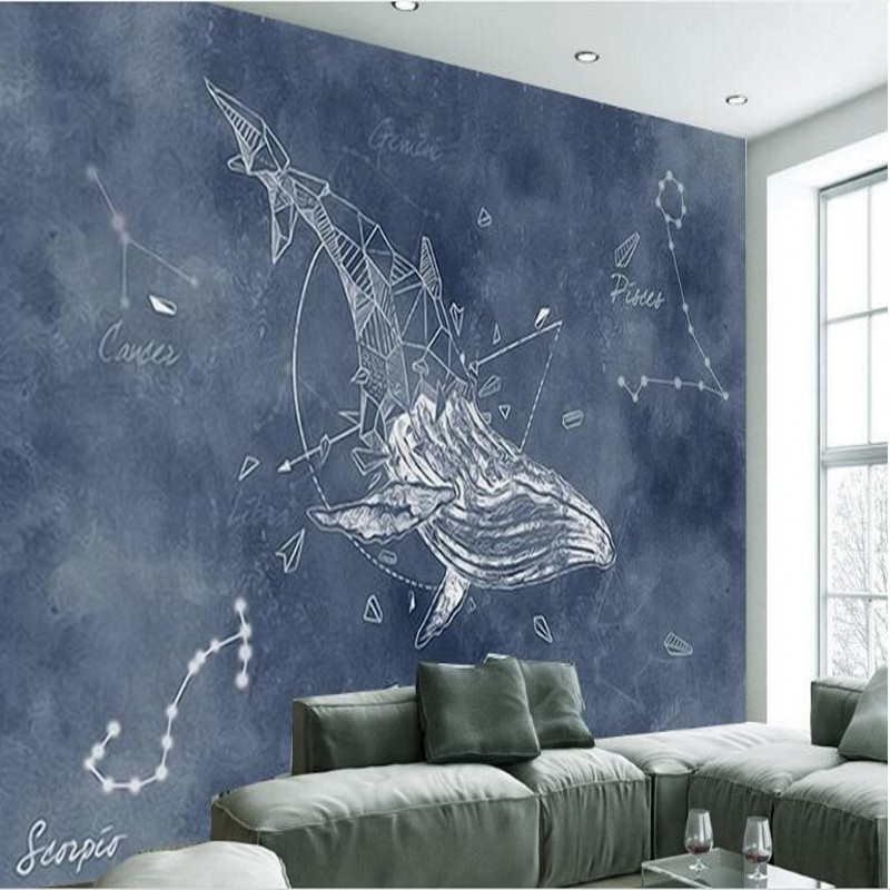Beibehang Custom Large Scale Murals Personality Hand Painted Constellation Whale Living Room Tv Backdrop Wallpaper In Wallpapers From Home Improvement On