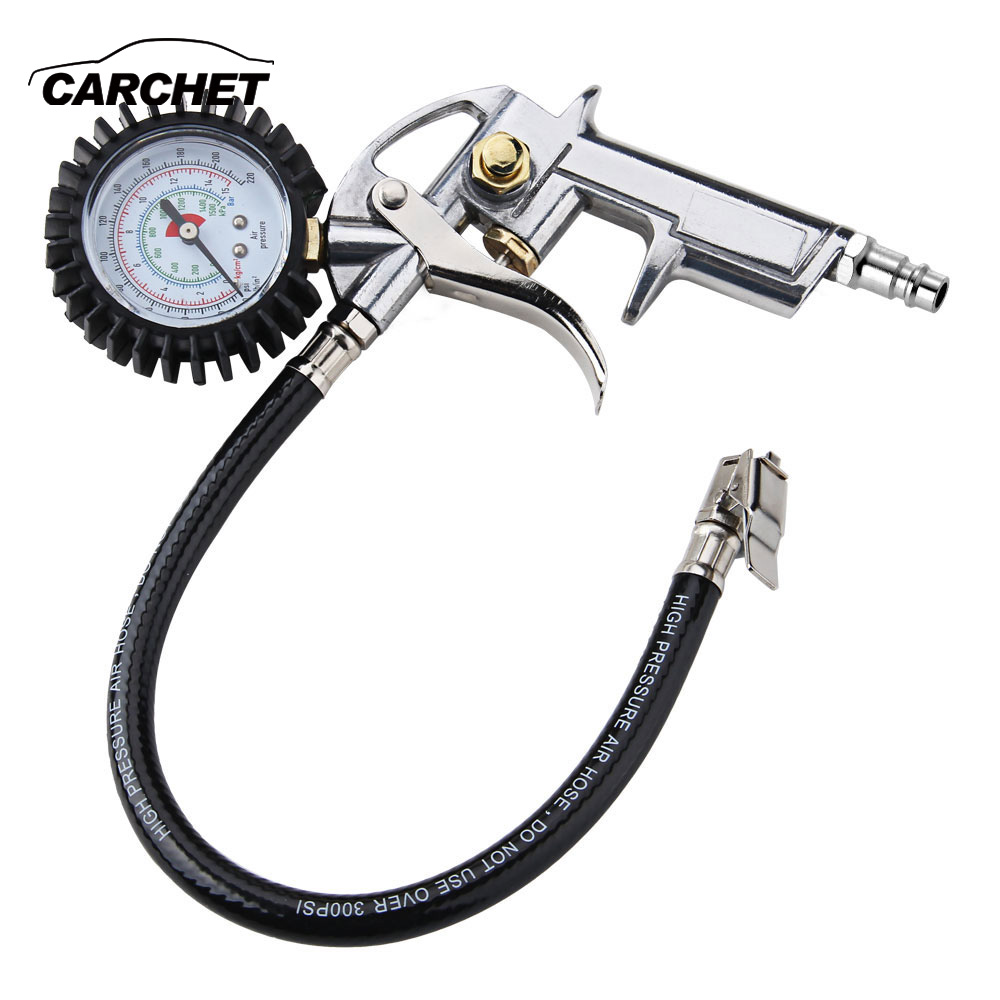 CARCHET Pneumatic Tire Inflator Gauge 15 BAR Tire Inflator EU Digital Vehicle Manometer Tyre Pressure Tester Air Release Button