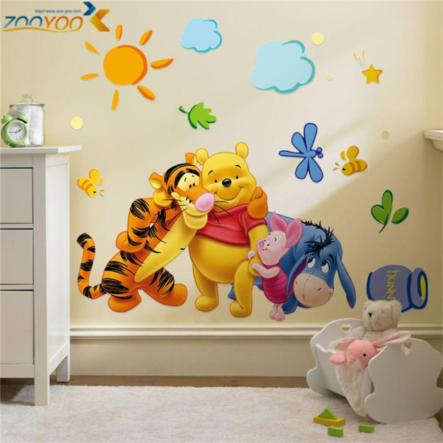 cartoon winnie de pooh muurstickers voor kinderen kamers sofa slaapkamer home decor baby beer pvc muurstickers