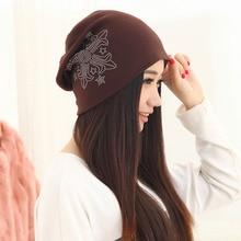 free shipping 300PCS/LOT  Spring and autumn beanie knitting hats women beanies girls warm hat sequins diamond cap female bonnet