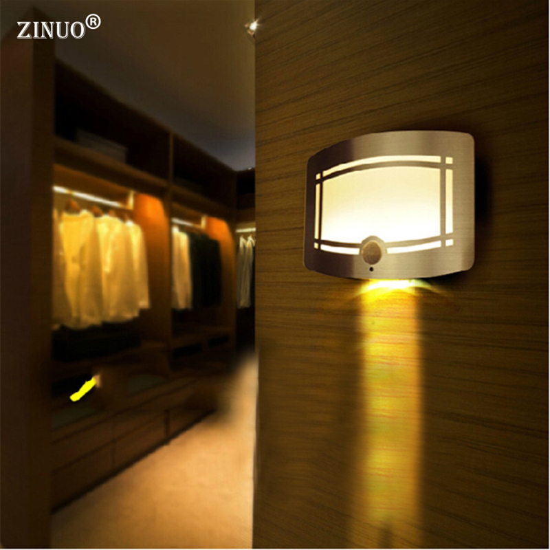 ZINUO Wireless Infrared PIR Motion Sensor LED Wall Sconce <font><b>Battery</b></font> Powered Night Light 10LEDS Porch Night Lamp For Emergency