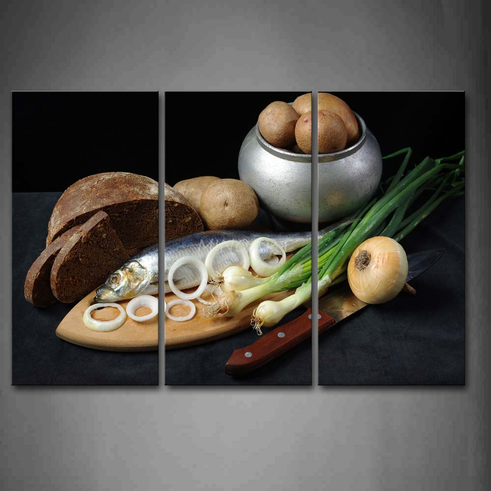 3 Piece Wall Art Painting Fish Onion font b Knife b font Potato And Black Bread