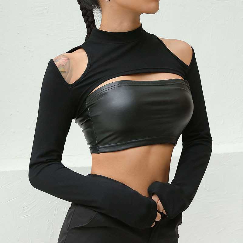 2018 Sexy <font><b>Women</b></font> Shoulder <font><b>Cut</b></font> <font><b>Out</b></font> T <font><b>Shirts</b></font> Long Sleeve Outwear Navel Bare Cropped Tops Tees Mujer Slim Fitness Short T <font><b>Shirt</b></font> image