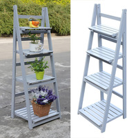New 4 Tier Wooden Garden Home Flower Balcony Ladder Shelf Display Free Standing Folding Flower Shelf Dish Rack Flower Stand