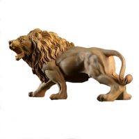 Poplar Wood Lion Living Room Decoration Toy Art Figurines Miniatures Birthday Christmas Gift Wooden Carved Lion