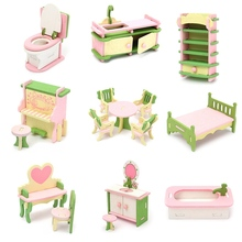 Wooden Miniature Doll House Furniture Set