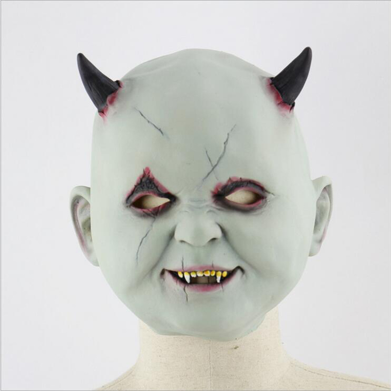 Scary Latex Halloween Mask Little Devil Cosplay Full Face