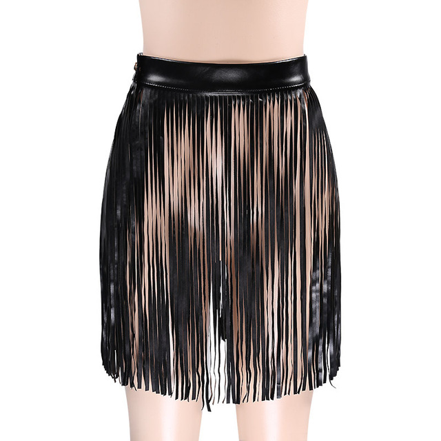 Black Leather Boho High Waist Skirt