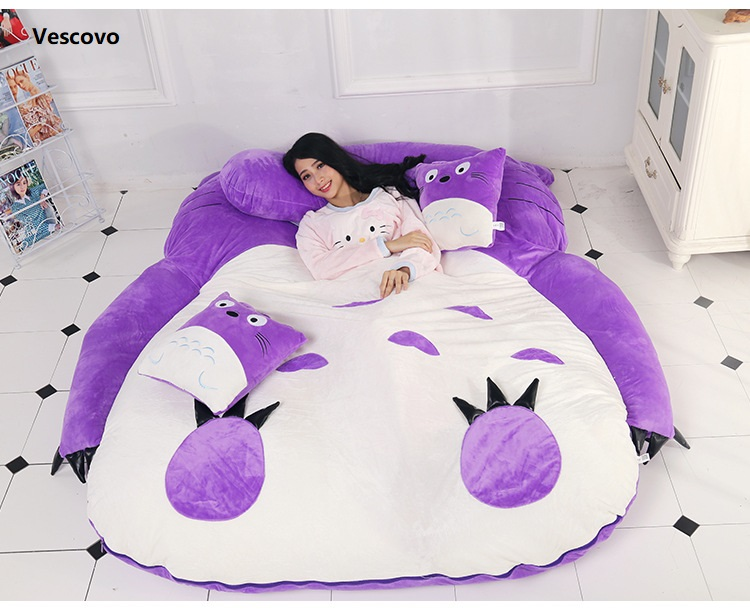 Vescovo <font><b>Purple</b></font> Princess Totoro lazy mattress Single cartoon Comfortable mats Lovely creative small bedroom sofa <font><b>bed</b></font> chair