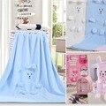 Мягкий ватки конверты для новорожденных купания детские одеяла новорожденных розовый синий белое полотенце , детское одеяло 100 * 80 см 2015