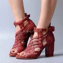 Retro Strappy Echtem Leder Frauen Gladiator Sandalen Aushöhlen High Heels Blockabsatz Frauen Pumpt Hochzeitskleid Schuhe Frau