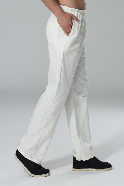 New Arrival White Spring Chinese Men's Kung fu Trousers Cotton Linen Pants Size S M L XL XXL XXXL