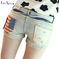 High Waist Shorts Women Hot Sale New Spring 2017 Cotton Polyester Jeans Shorts Women's Short Flag Design 2 Colors Free Shipping
