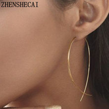 2018 New Exaggerated Simple line Big Drop Earrings for Women Double Round Circle Pendant Long Earrings Brincos Jewelry A30(China)