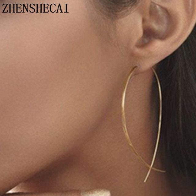 2018 New Exaggerated Simple line Big Drop Earrings for Women Double Round Circle