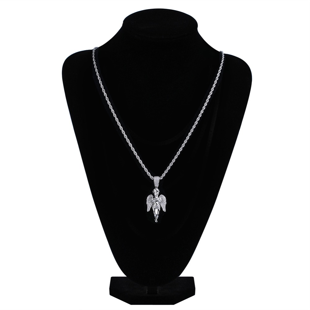 Image 4 - TOPGRILLZ HipHop Men Women Necklace Gold Color Plated Iced Out Micro Pave CZ Stone Angel Pendant Necklaces Love'sblessing Gifts-in Pendant Necklaces from Jewelry & Accessories