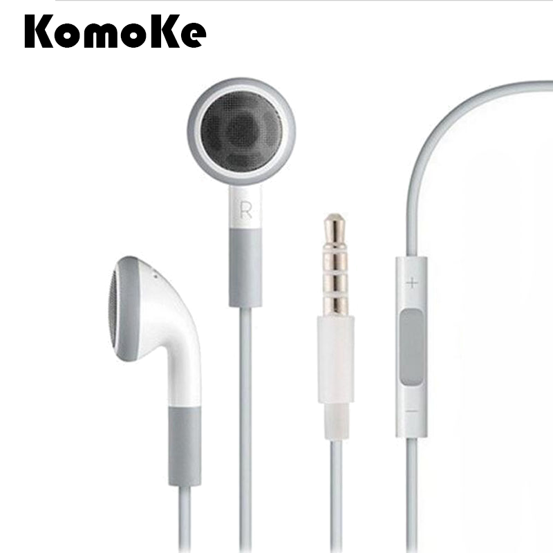 3.5mm Earphone Earbuds Remote+Mic Earphones White 1M Stereo Handfree Headset For Apple iPhone6 6S Plus 5S 5 SE