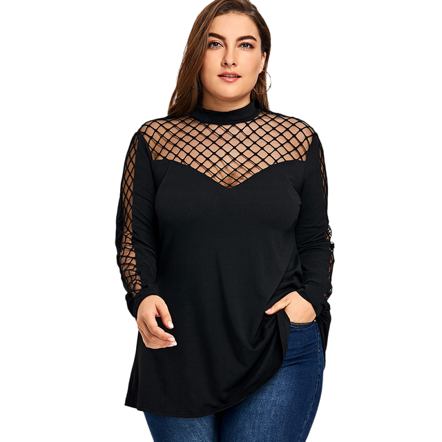 910b38a443eac Women T Shirts Plus Size 5XL Long Sleeve Lattice Cut T-Shirt Fashion Stand  Collar Cut Out Elastic Ladies Tops Pullovers
