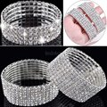 Hot Selling 4/5/8 Rows Crystal Rhinestone Bracelet Bangle Bling Wristband Women Wedding Bridal Bracelet Jewelry Free Ship