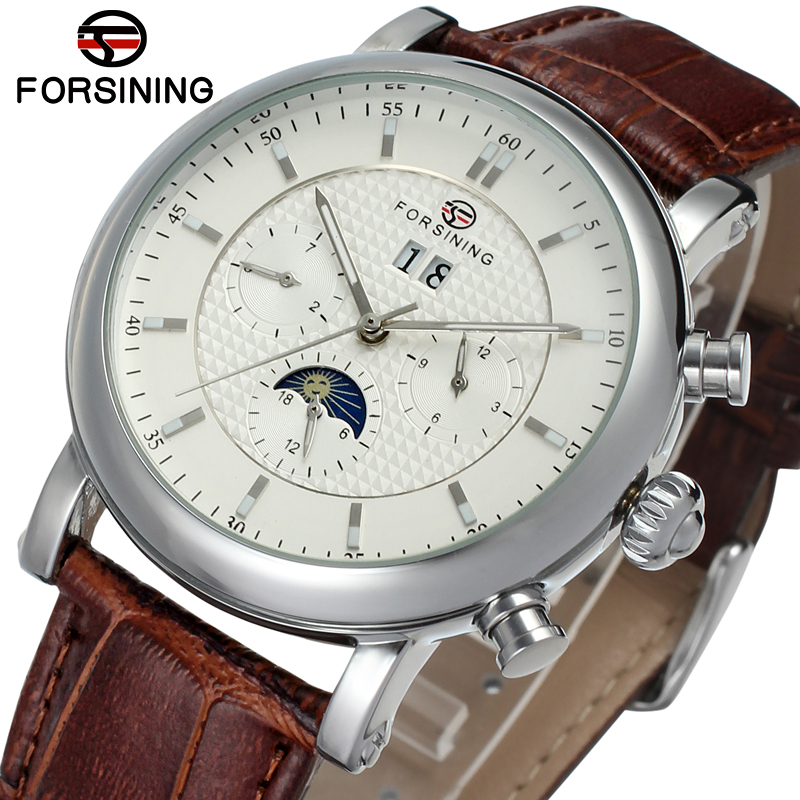 FSG553M3S1 Best price new Forsining Automatic men watch with moon phase brown genuine leather strap free shipping with gift box цена
