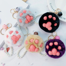 Women Dog Claw Hairball Key Chain Pendant 5 Styles Rabbit Fur Fuzzy Ball Pompom Keychain Bag Big Charm Key Ring beaded chain colorful fuzzy ball drop earrings