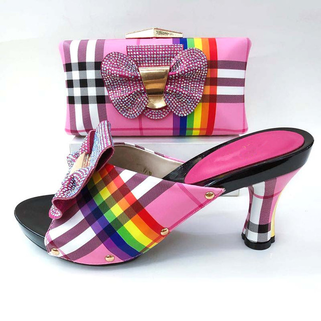 Hot sale fuchsia bowtie design women pumps with rhinestone african lady shoes and handbag for dress A111,heel 8CM