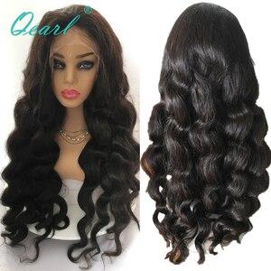 Image 1 - スーパー厚い密度レースフロント人間の髪かつらブラック 480 グラムブラジルの Remy 毛レースフロントかつら 13 × 4 Qearl 髪