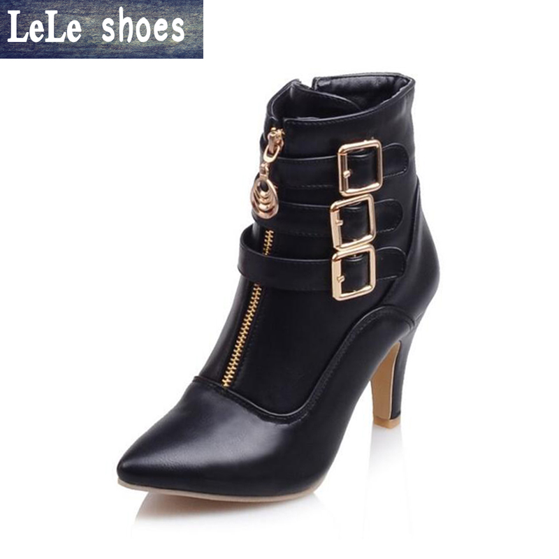 LELE 2017 New Women Ankle boots luxury high heels short leather boots buckle zipper pointed toe ladies shoes big size 34-43 brand new hot sales women nude ankle boots red black buckle ladies riding spike shoes high heels emb08 plus big size 32 45 11