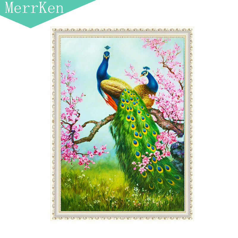 5d Diy diamond painting cross stitch The peacock peach blossom diamond embroidery diamond mosaic animal home decor 30X48cm