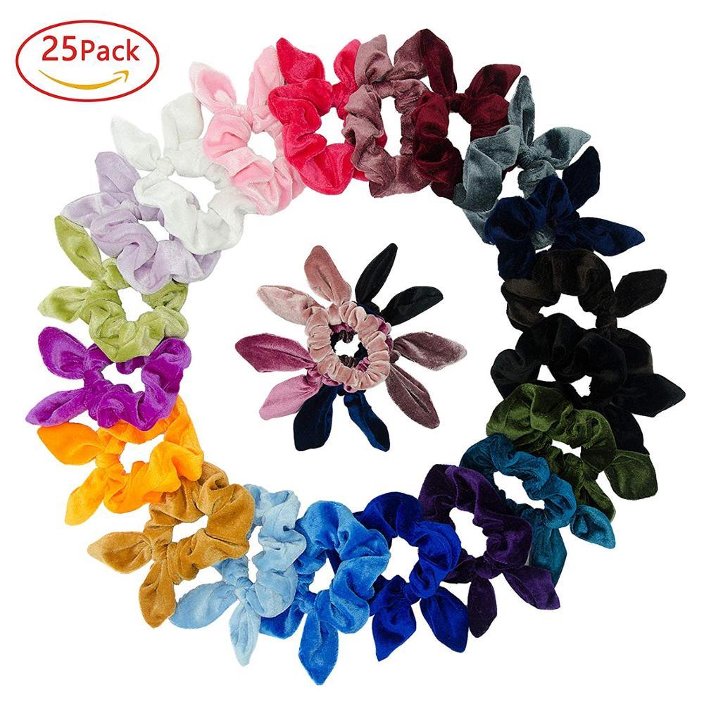 Simnice 25 Pack Hair Scrunchies Rabbit Bunny Ear Bow Bowknot Scrunchie Velvet Scrunchy Bobbles Elastic Hair Ties Bands Ponytail