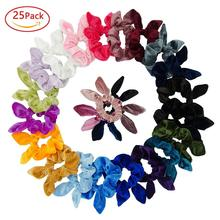 Simnice 25 Pack Hair Scrunchies Rabbit Bunny Ear Bow Bowknot Scrunchie Velvet Scrunchy Bobbles Elastic Ties Bands Ponytail