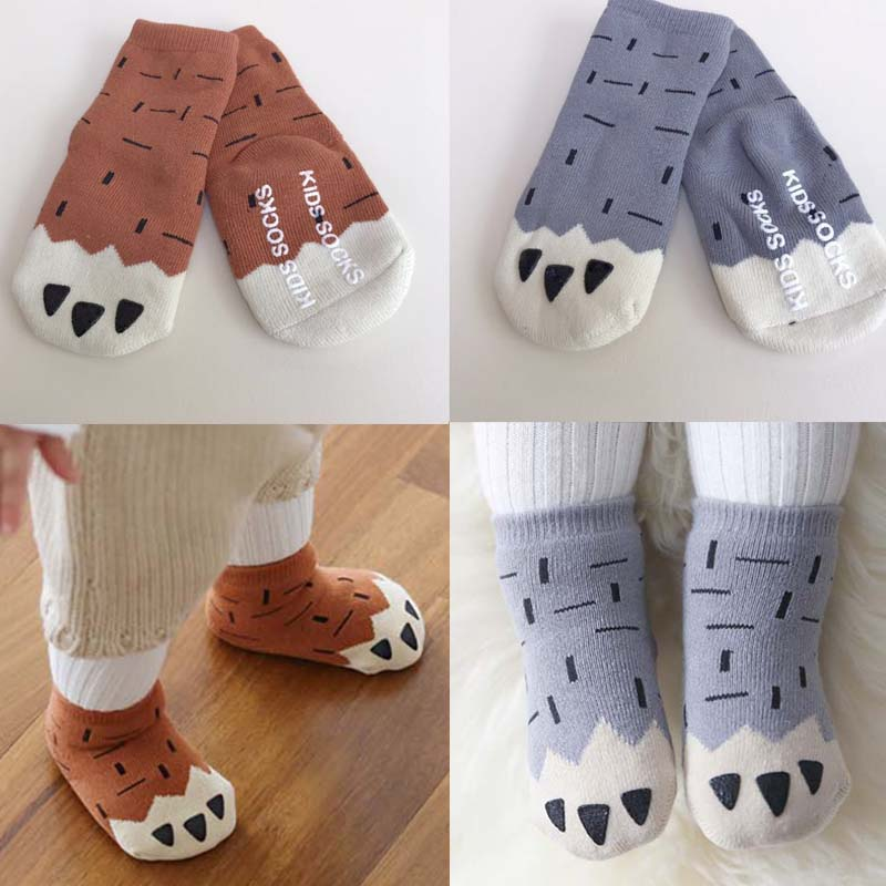BBK Korean Fashion cartoon paw baby socks winter thick Newborn Cotton Boys Girls Cute Toddler Anti