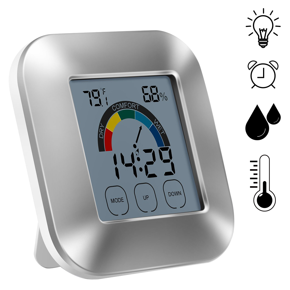 Indoor Thermometer Humidity Monitor with Touchscreen Backlight Timer Smart Digital Hygrometer Temperature Gauge Meter with Clock indoor air quality pm2 5 monitor meter temperature rh humidity