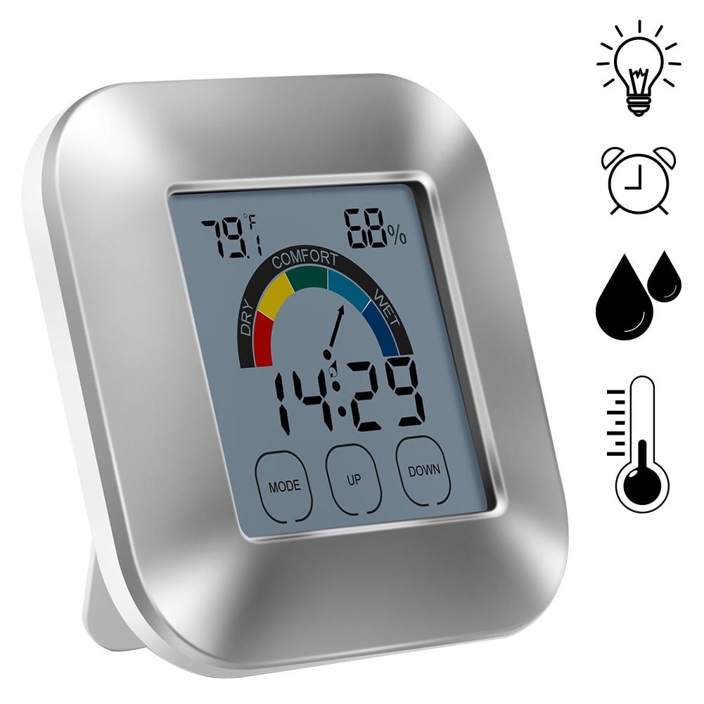 Termómetro de interior Monitor de humedad con pantalla táctil retroiluminación temporizador inteligente Digital higrómetro medidor de temperatura con reloj