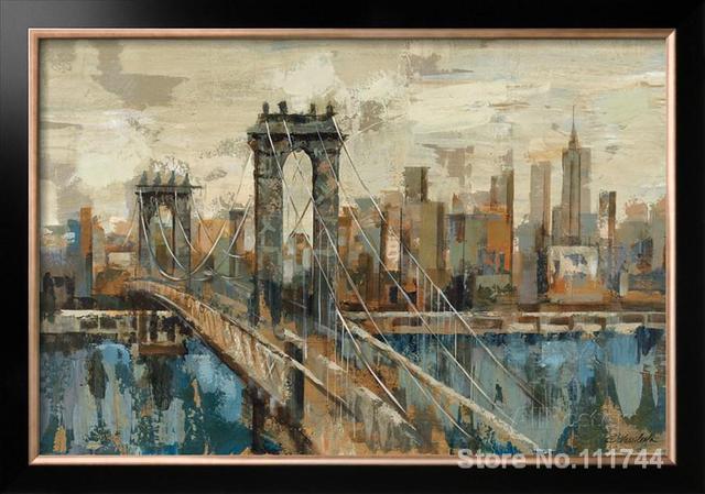 Art abstrait peintures pont New York Vue peint à la main art par ...