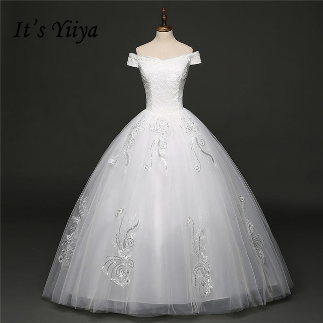 It s YiiYa Off White Sleeveless Boat Neck New Bride Dresses Beautiful Flower  Pattern Embroidery Vintage Wedding Gown HS272 6e7b193c6dda