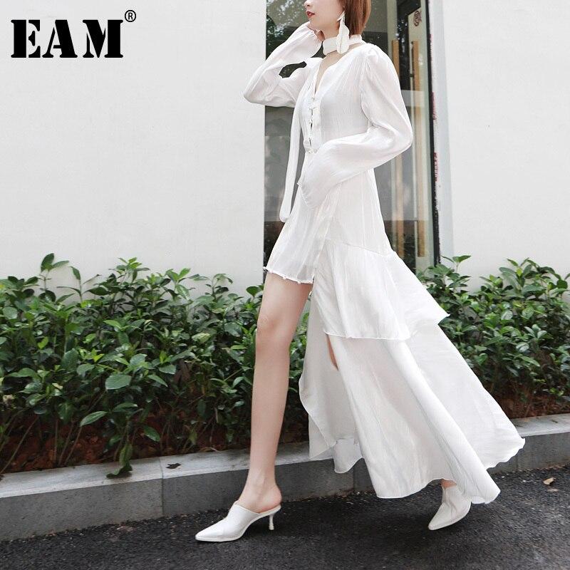 EAM 2019 New Spring Summer V Neck Long Sleeve White Brief Irregular Hem Loose Temperament