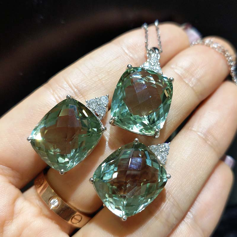 FLZB Fine jewelry set big gemstone earring and pendant necklace natural green amethyst in 925 sterling